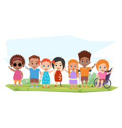 Children of different disabilities and healthy vector