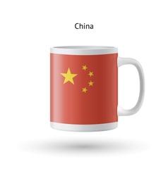 China flag souvenir mug on white background vector
