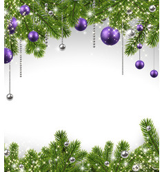 Christmas background with spruce branches and vector