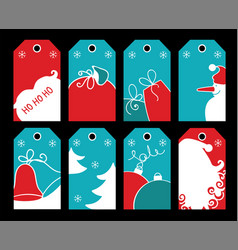 christmas tags set of simple tricolor pictures vector image