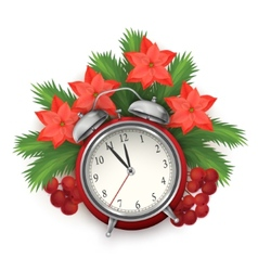 Christmas time composition with alarm clock vector