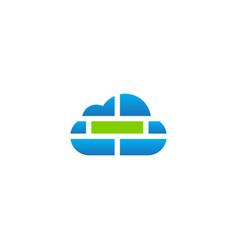 cloud brick computer tech logo vector image