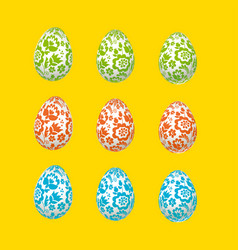 Colorful easter egg decoration floral folk-style vector