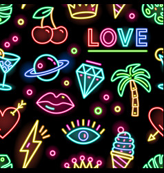 colorful seamless pattern with glowing electric vector image