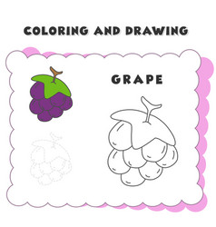 coloring and drawing book element grape grape vector image