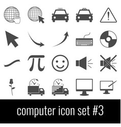 computer icon set 3 gray icons on white vector image