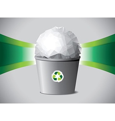 Crumpled paper ball in recycle bin vector
