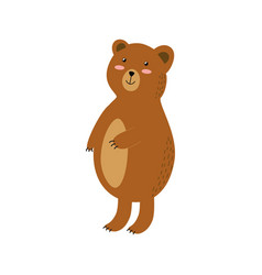 Cute brown grizzly bear isolated element forest vector
