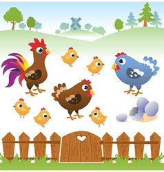 Cute cartoon hen rooster and chicken with landscap vector image