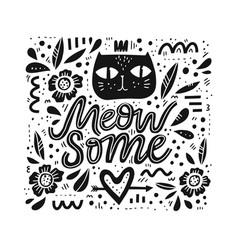 cute cat hand drawn black vector image