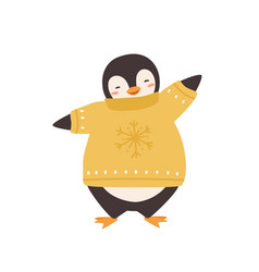 cute penguin in warm sweater with snowflake print vector image