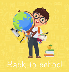 Cute pupil boy back to school isolated cartoon vector