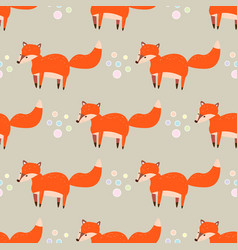 cute seamless pattern with little foxes fox vector image