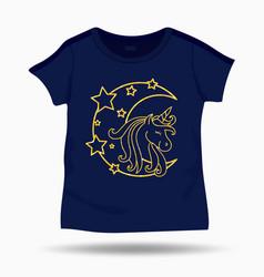 cute unicorn on t shirt kids template vector image