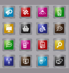 data analytic and social network glass icons set vector image