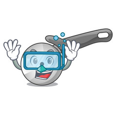 diving character pizza cutter with handle cartoon vector image