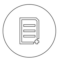 Document sheet add black icon in circle outline vector
