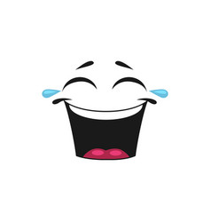 emoticon with mouth open laugh and blinked eyes vector image