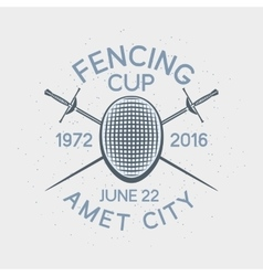 Fencing cup competition sport badge vector