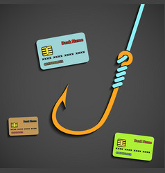 fishhook and bank cards vector image