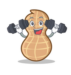 Fitness peanut character cartoon style vector