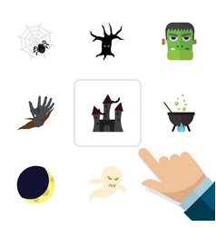 flat icon festival set of monster spinner vector image
