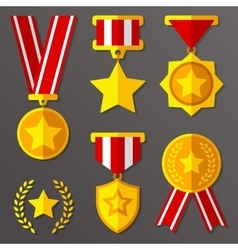 Flat medals and awards set with stars icon vector
