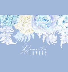 Floral blue horizontal border vector