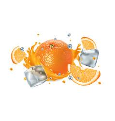 fresh orange in a splash juice with ice cubes vector image