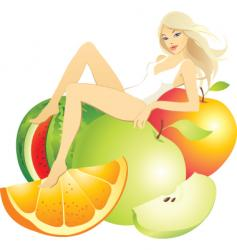 Girl fruit vector