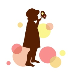 Girl silhouette with butterfly on the abstract vector
