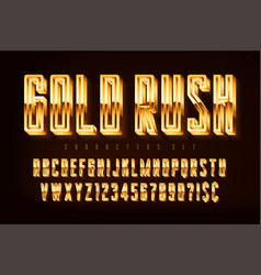 golden 3d polished font gold letters and numbers vector image