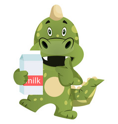 green dragon is holding milk on white background vector image