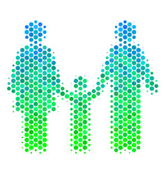 halftone blue-green family child icon vector image