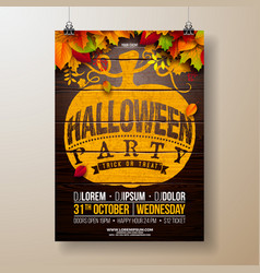 Halloween party flyer with autumn vector