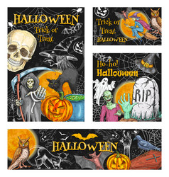 halloween witch monsters sketch posters vector image