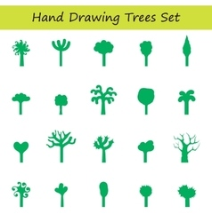 hand draw trees set vector image