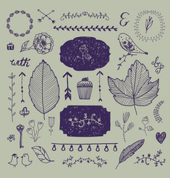 hand drawn doodle romantic set linear vector image