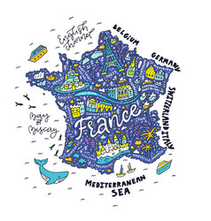 Handdrawn map france vector