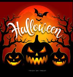 happy halloween full moon three pumpkins vector image