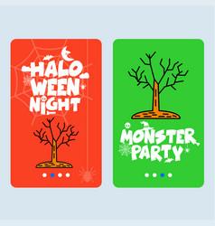 Happy halloween invitation design with tree vector