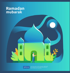 Happy ramadan mubarak and islamic eid fitr vector