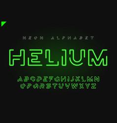 Helium futuristic linear neon alphabet vector