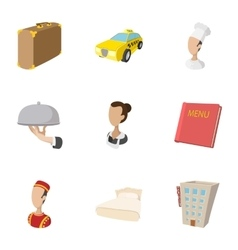 Hostel accommodation icons set cartoon style vector image