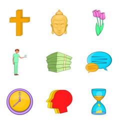 Indulgence icons set cartoon style vector