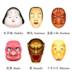 Japan masks IV vector image