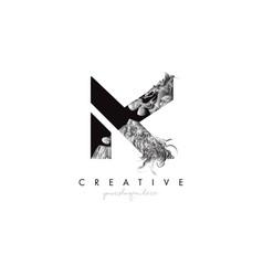 letter k logo design icon with artistic grunge vector image