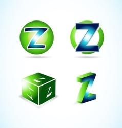 Letter Z green blue logo vector image