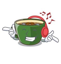 Listening music indian masala tea in cartoon cup vector