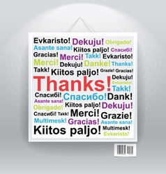 Many thanks in differenr languages on board vector